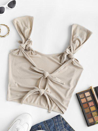 Ribbed Knotted Crop Tank Top - Light Coffee