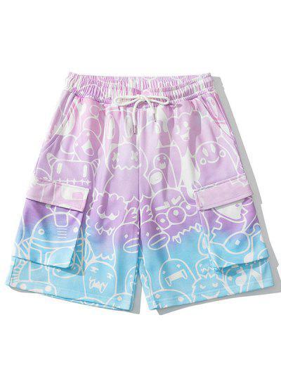 Ombre Bear Drawing Print Sweat Shorts - Blush Pink L