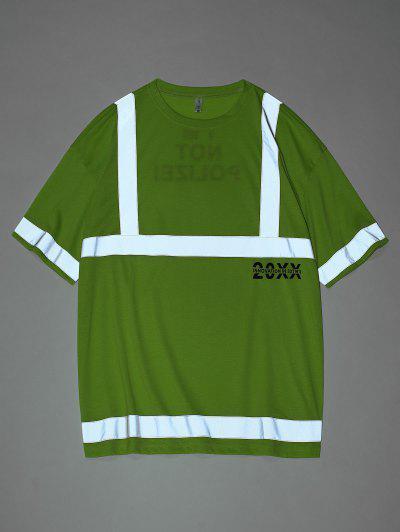 반사 패널 편지 인쇄 짧은 소매 티셔츠 - 초록 특대