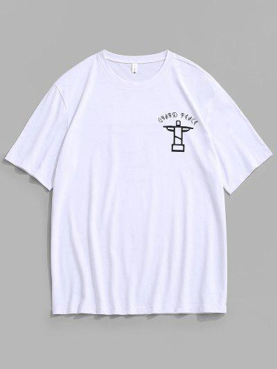 편지 그래픽 짧은 소매 티셔츠 - 하얀 에스