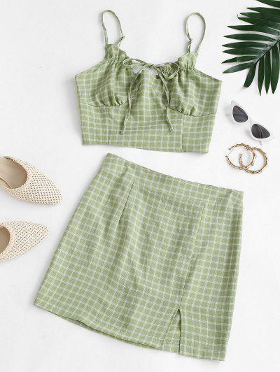 Plaid Ties Smocked Back Slit Skirt Set - Green S