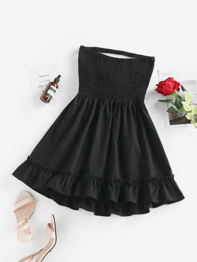 ZAFUL Flounce Smocked Ladder Cutout Bandeau Dress - Black S