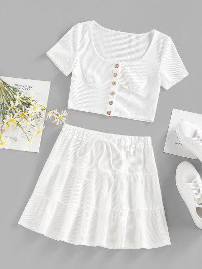 ZAFUL Riss Geknöpftes Gebundenes Zweiteiliges Kleid Set - Weiß L
