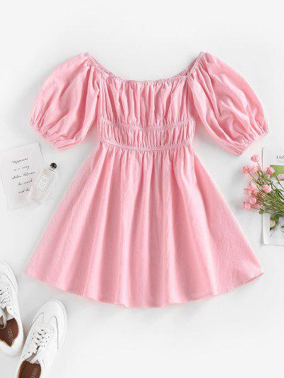 ZAFUL Ruched Puff Sleeve Off Shoulder Dress - Light Pink S