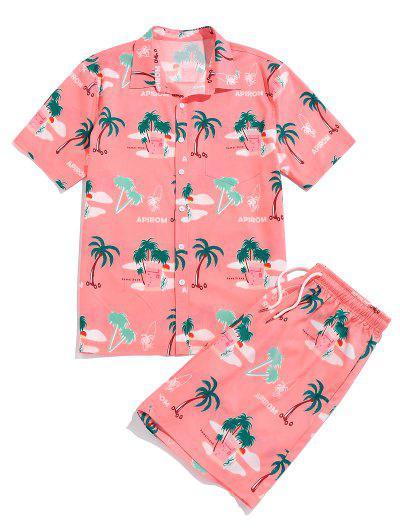 ZAFUL Palm Tree Print Vacation Shirt And Shorts Set - Watermelon Pink Xxl