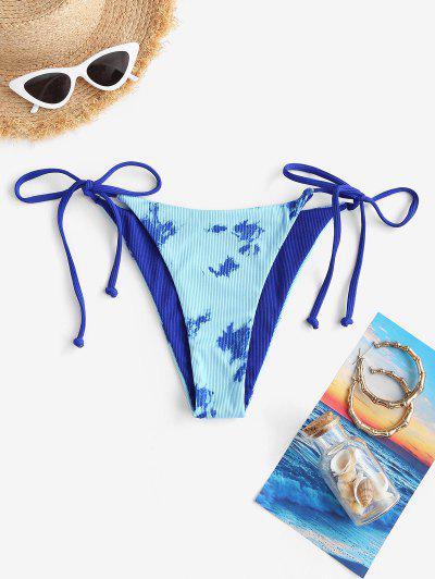 ZAFUL Krawattenfärbender Druck Wendbarer Bikinihose Mit Hohem Schnitt - Blau L