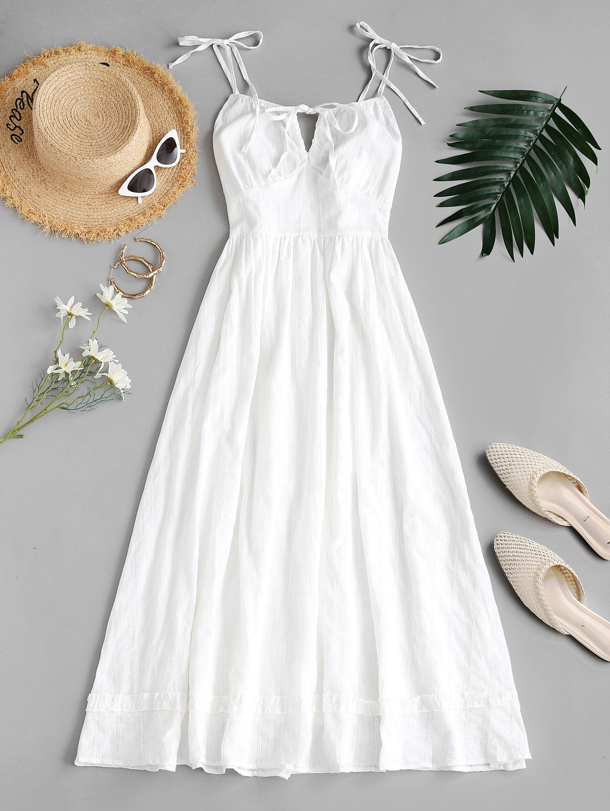 Shirred Back Tie Shoulder Midi Dress