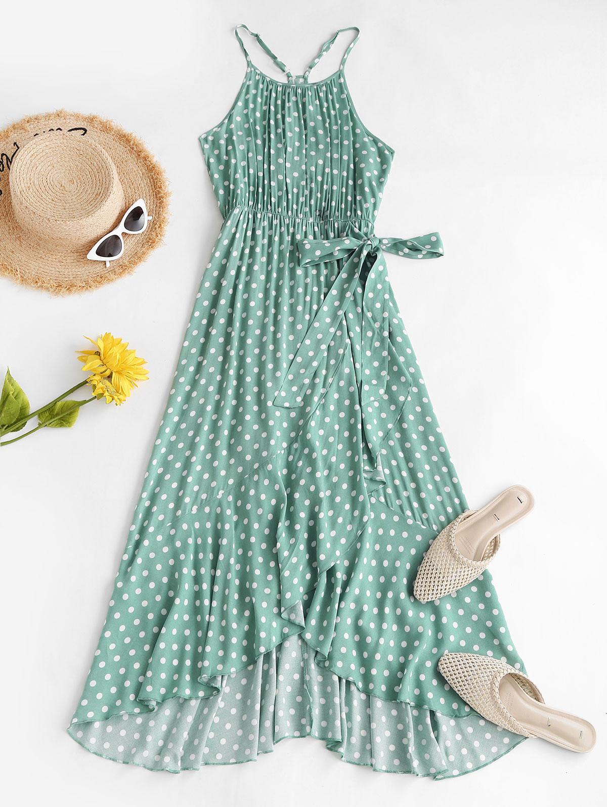 Polka Dot Ruffles Tie Waist Midi Dress