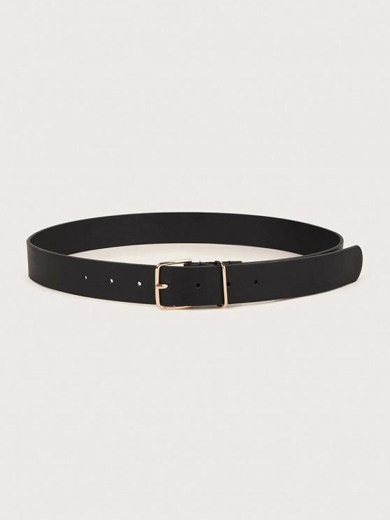 Minimalistic Solid Sleek Square Buckle Belt - أسود
