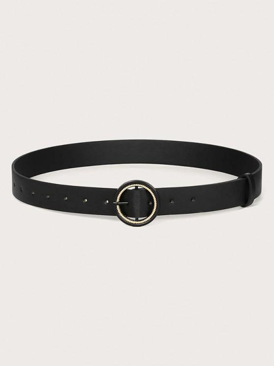 unique Solid Metallic Spiral Double Circle Buckle Belt - BLACK