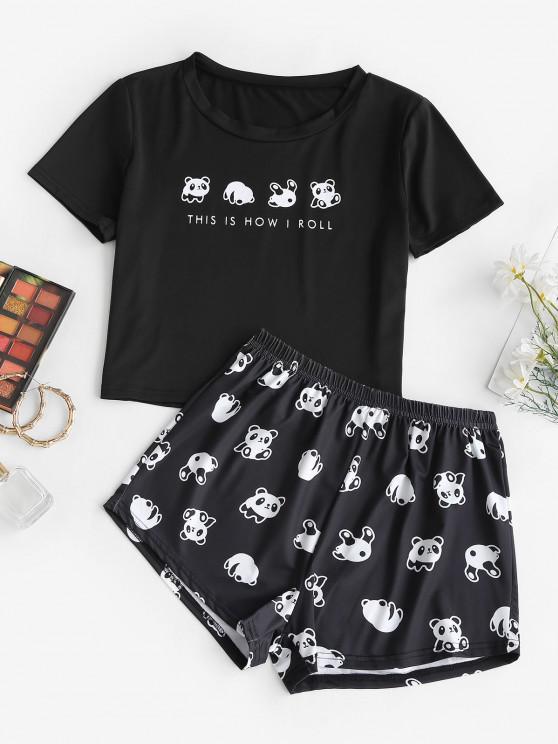 Top e Pantaloncini Panda con Stampa Lettere - Nero L