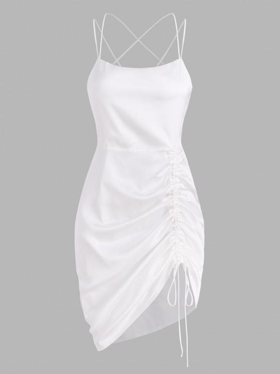trendy Silky Satin Cinched Ruched Crisscross Backless Slinky Dress - WHITE S