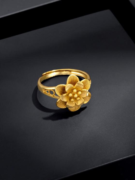 buy Carved Layers Flower Shape Open Ring - GOLDEN