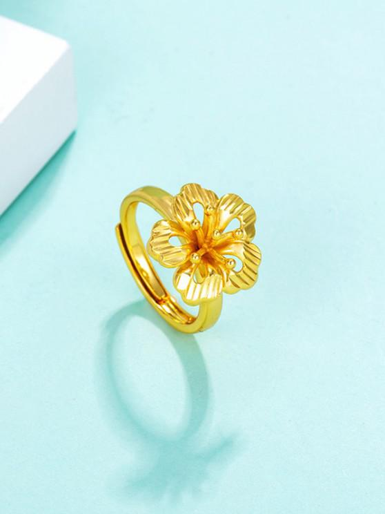 womens Hollow Out Floral Adjustable Ring - GOLDEN