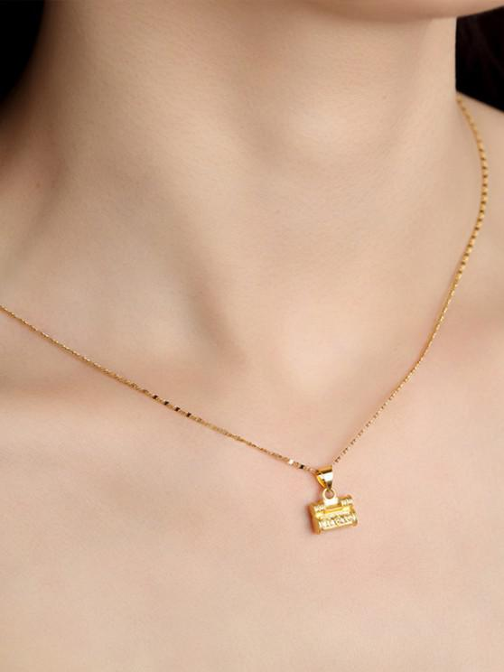 new Retro Carved Lock Pendant Necklace - GOLDEN