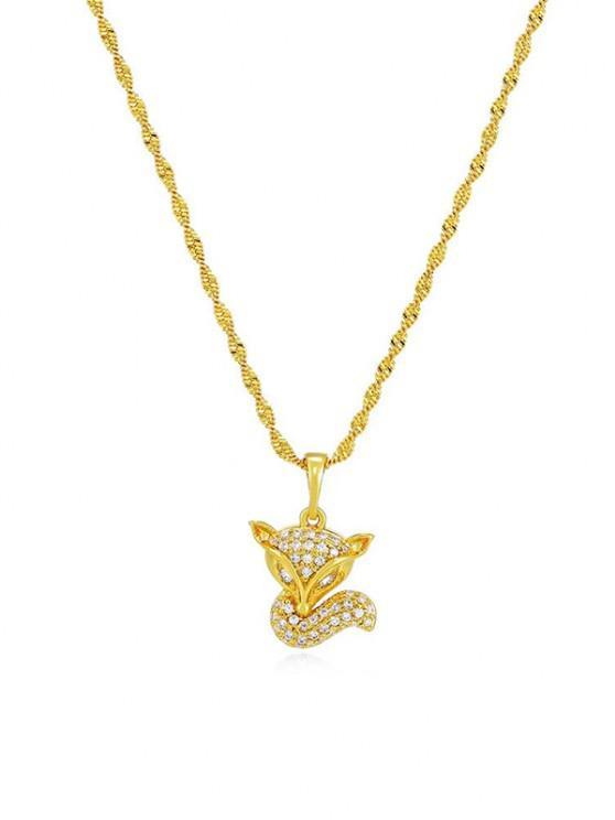 hot Zircon Fox Pendant Necklace - GOLDEN