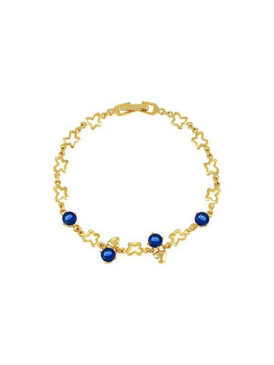 chic Hollow Butterfly Heart Shape Zircon Bracelet - DEEP BLUE
