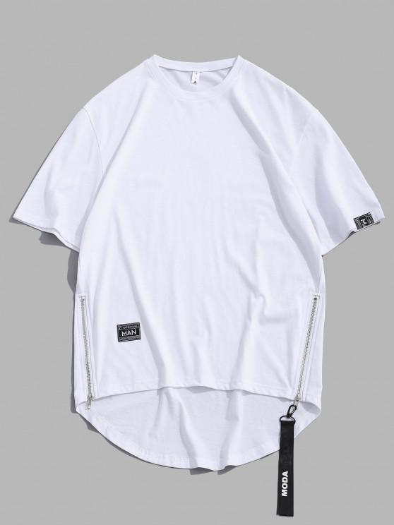 best Zipper High Low Short Sleeve Drop Shoulder T-shirt - WHITE L