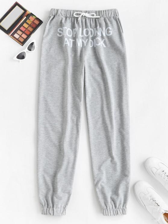 Pantaloni da Jogging Grafici di Slogan con Coulisse e Tasca - Grigio Chiaro S