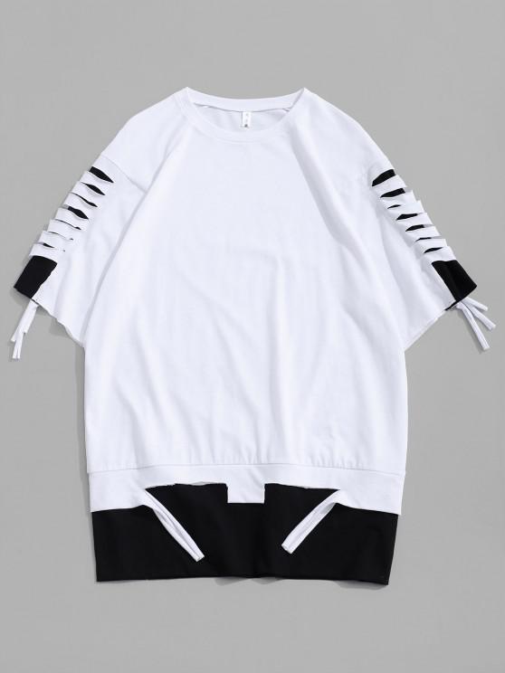 Zerrissene Farbblock Kurzarm T-Shirt - Weiß L