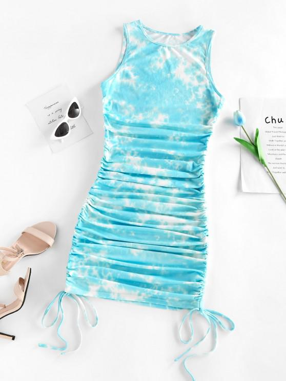 latest ZAFUL Cinched Tie Dye Mini Bodycon Dress - LIGHT BLUE M