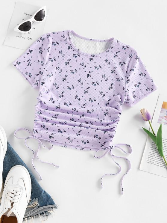 buy ZAFUL Floral Ribbed Cinched Tie Baby Tee - LIGHT PURPLE M