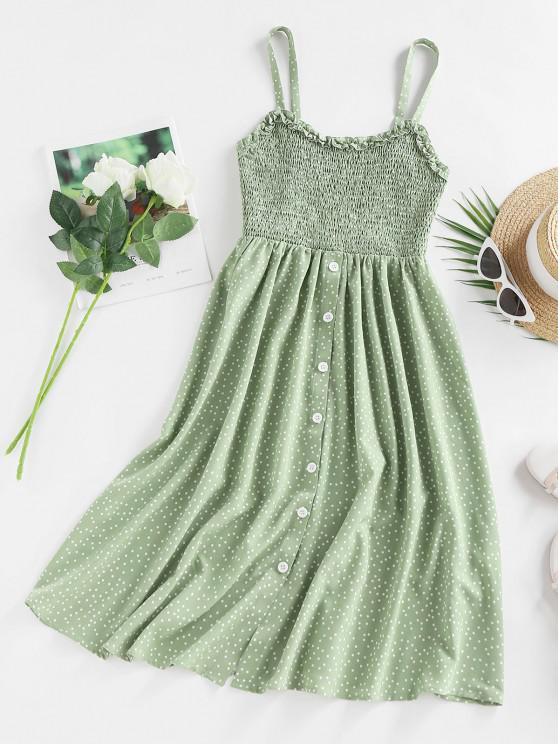 ladies ZAFUL Polka Dot Print Shirred Cami Dress - LIGHT GREEN XL