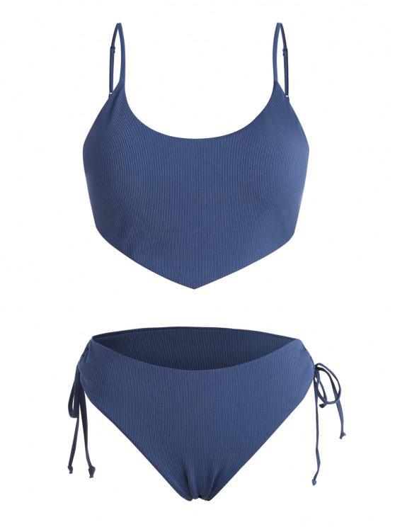 ZAFUL Plus Size Ribbed Tied Plain Bikini Swimwear - أزرق XL