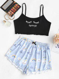 Lounge Rainbow Printed Funny Two Piece Set - Light Blue L