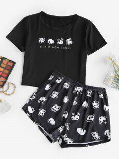 Funny Letter Panda Two Piece Set - Black L