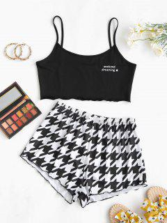Lounge Weekend Dreaming Houndstooth Two Piece Set - Black M