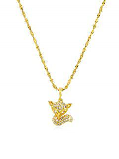 Zircon Fox Pendant Necklace - Golden