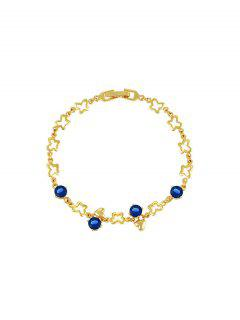 Hollow Butterfly Heart Shape Zircon Bracelet - Deep Blue