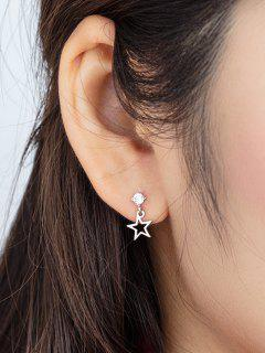 Hollow Star Pendant Zircon Stud Drop Earrings - Silver