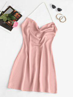Faux Pearl Halter Mini Party Dress - Light Pink L