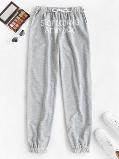 Slogan Graphic Pocket Drawstring Joggers Pants - Light Gray M