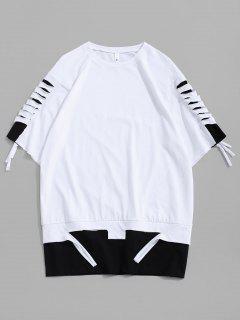 T-Shirt Strappata A Blocchi Di Colore Con Maniche Corte - Bianca L