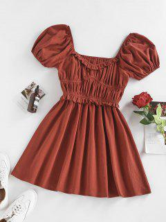 ZAFUL Puff Sleeve Ruched Frilled Short Dress - Deep Red S