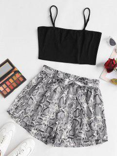 ZAFUL Plus Size Cropped Belted Snake Print Paperbag Shorts Set - Multi 3xl