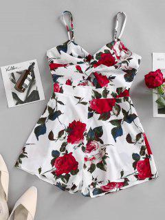 ZAFUL Flower Print Twisted Cutout Cami Romper - White S