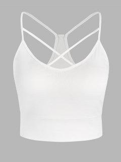 Plus Size Crisscross Cropped Cami Top - White L