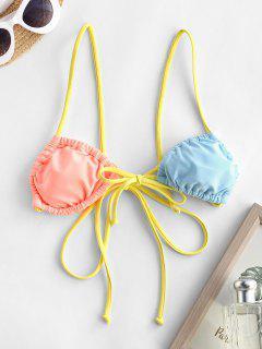 ZAFUL Bikini Top Con Cordones En Contraste - Multicolor L