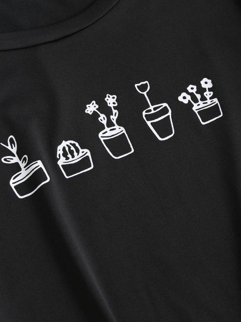 Ensemble de Deux Pièces Court Pot de Plante Imprimé - Noir XL Mobile