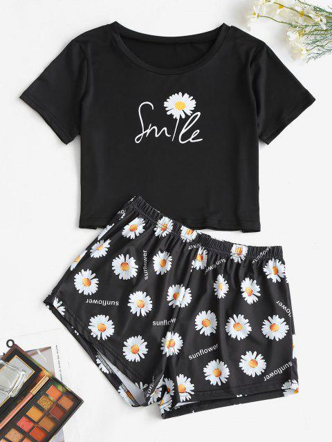 lady Lounge Daisy Cropped Two Piece Set - BLACK XL Mobile