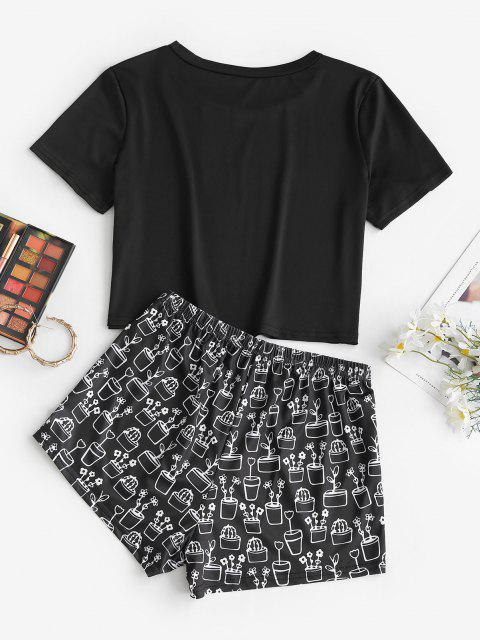outfits Potted Plant Print Cropped Two Piece Set - BLACK M Mobile