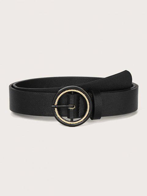 Solid Metallic Spiral Double Circle Buckle Belt - أسود  Mobile