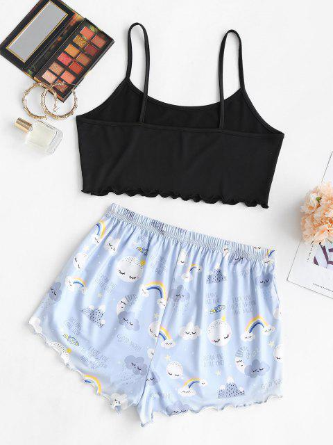 trendy Lounge Rainbow Printed Funny Two Piece Set - LIGHT BLUE L Mobile