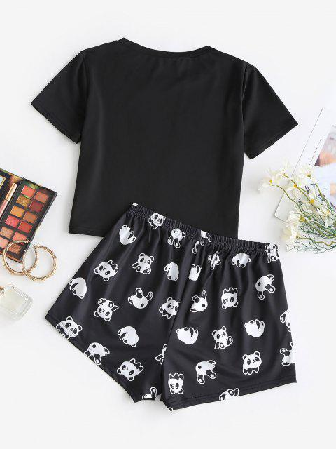 outfit Funny Letter Panda Two Piece Set - BLACK L Mobile