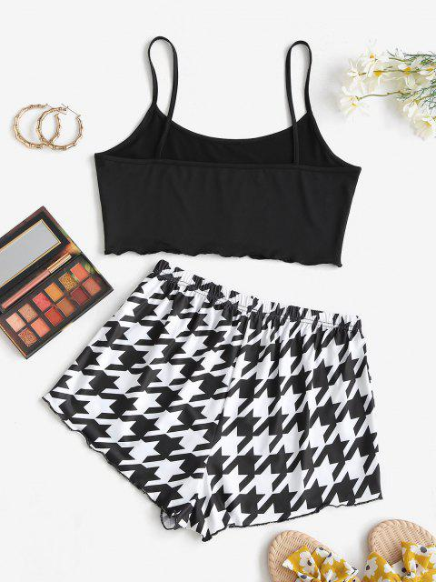women's Lounge Weekend Dreaming Houndstooth Two Piece Set - BLACK S Mobile