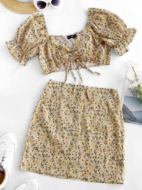 ladies Cinched Ditsy Floral Sweetheart Two Piece Dress - LIGHT YELLOW M Mobile